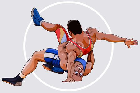 cartoons by two men sparring wrestling