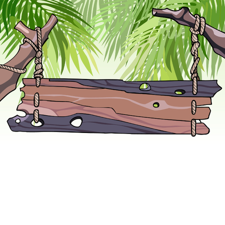 cartoon wooden signboard hanging among the leaves Illustration