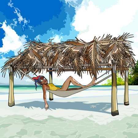 tropics: cartoon woman resting in a hammock on the beach in the tropics