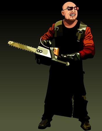 murderer: cartoon angry man maniac with a chainsaw