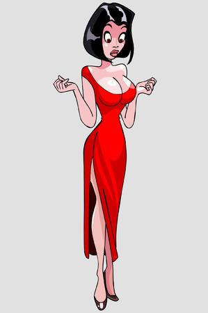 sexy woman standing: cartoon elegant beautiful woman looking surprised Illustration