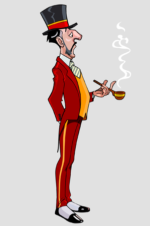 bande dessinée homme gentleman mince et grand dans un chapeau