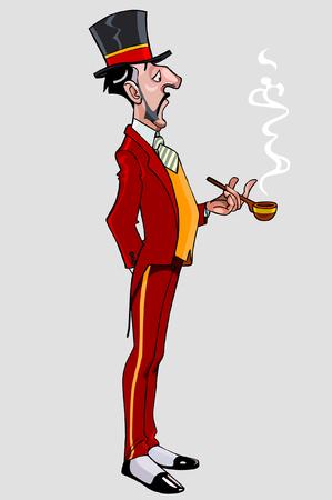 tall: cartoon man gentleman thin and tall in a hat