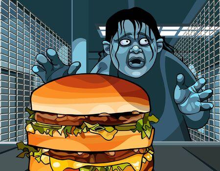 idzie: funky cartoon fat man goes at dusk to take a large hamburger Ilustracja