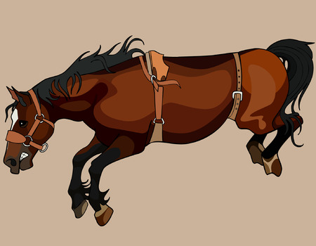 filly: brown horse in the jump with bent legs Illustration