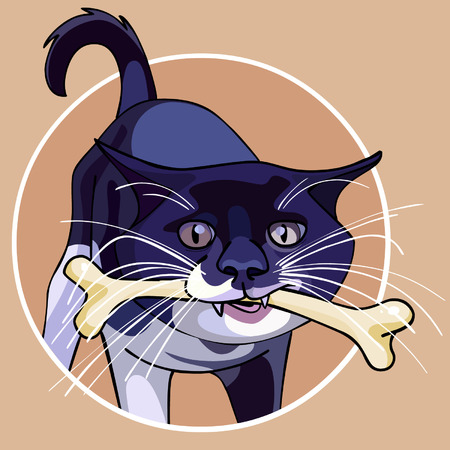 nibble: cartoon cat with a bone in its mouth Illustration