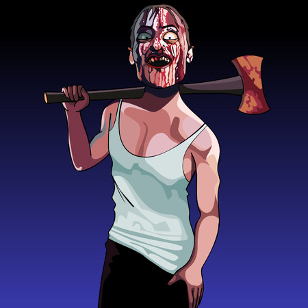 maniac: cartoon man maniac with blood-spattered face and an ax Illustration