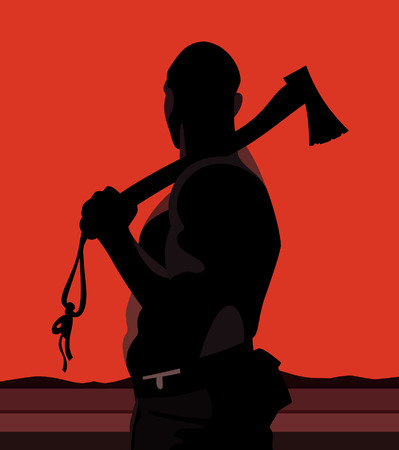 hatchet man: silhouette of a man with a hatchet on a red background