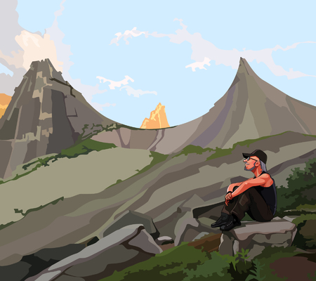 sits: Male traveler sits on a rock in the mountains