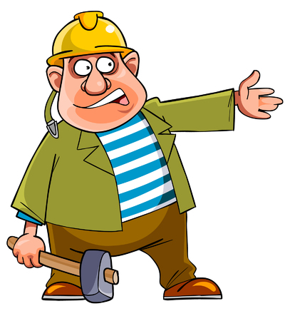 indicates: cartoon man in a helmet and with a hammer indicates hand