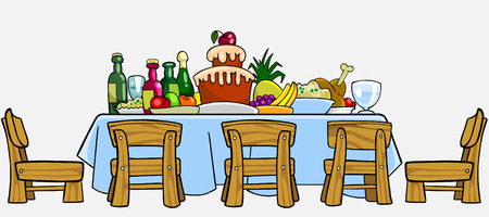 cluttered: cartoon table with chairs and cluttered food