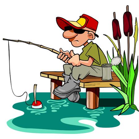pescador de dibujos animados con una caña de pescar sentado en el estrado