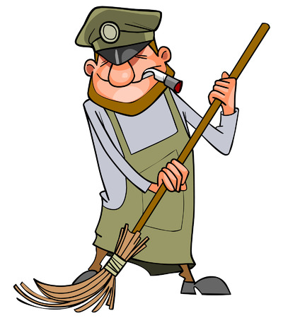janitor: cartoon man janitor sweeps broom