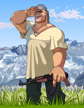 burly: cartoon burly man with a gun in his hand looks into the distance