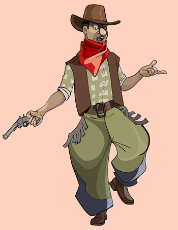 masculinity: cartoon funny man in cowboy clothes with a revolver Illustration