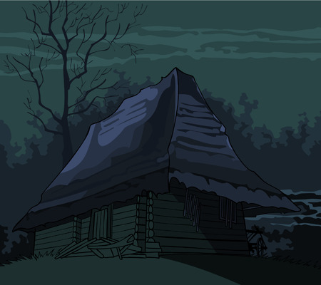 woodland  horror: cartoon grim spooky old house in the night Illustration