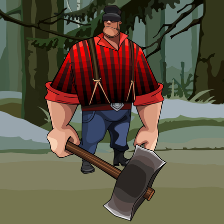 burly: cartoon burly lumberjack with an ax in the forest