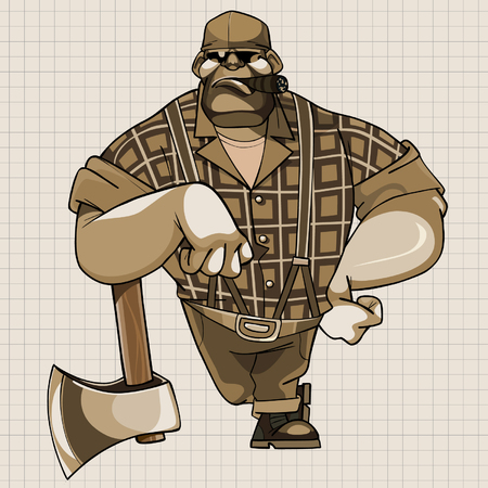 cartoon hefty serious woodcutter is leaning on the ax is drawn on a sheet