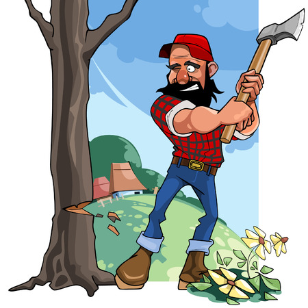 cartoon rustic lumberjack chopping wood with an ax Illustration