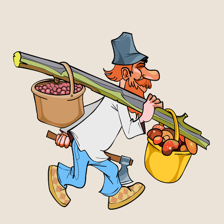 goes: cartoon rustic lumberjack with an ax goes with baskets full of berries and mushrooms Illustration