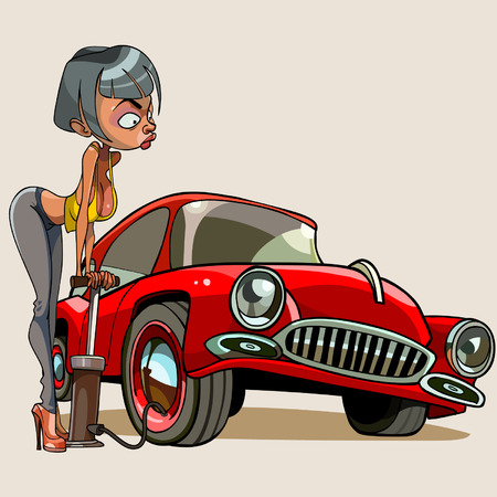 cartoon woman pumps up the car wheel