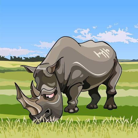 grazing: cartoon big rhino grazing in the meadow