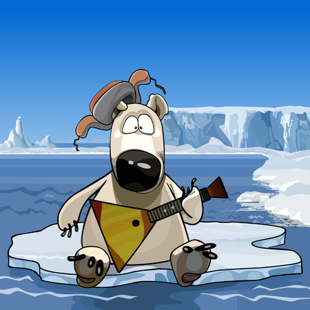 floe: cartoon polar bear sitting on an ice floe with a balalaika