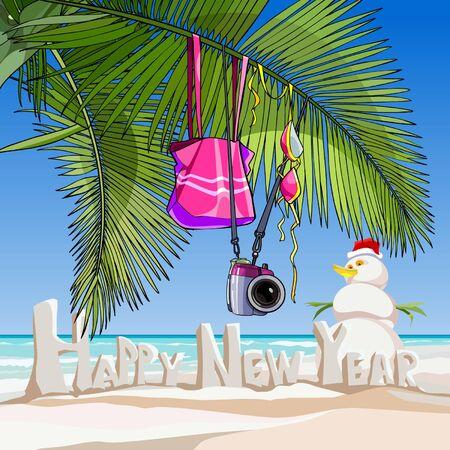 beach happy new year: cartoon greeting happy new year on a tropical beach