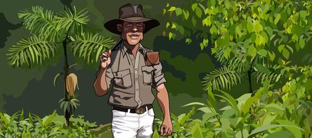 goes: cartoon man traveler goes through the jungle