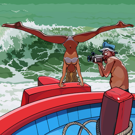 sexy woman standing: cartoon photographed a man sexy woman standing on hands on a boat
