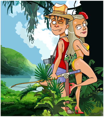 back to back couple: cartoon tourist couple man and woman in the tropics