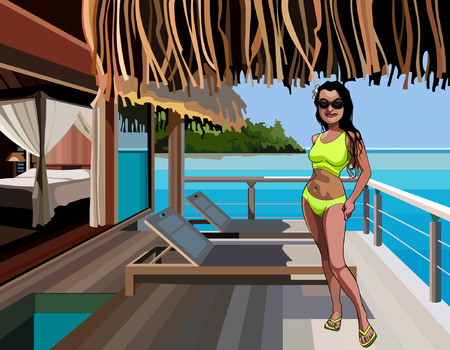 bungalow: cartoon woman in a bikini standing on the terrace of a bungalow in the sea Illustration