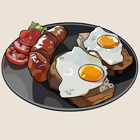 scrambled: Breakfast plate with scrambled eggs and sausage Illustration