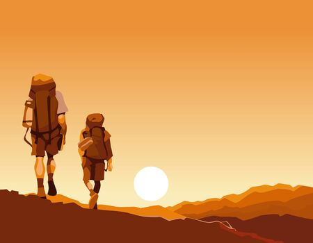 backpacks: couple of tourists with backpacks go on an orange sunrise Illustration