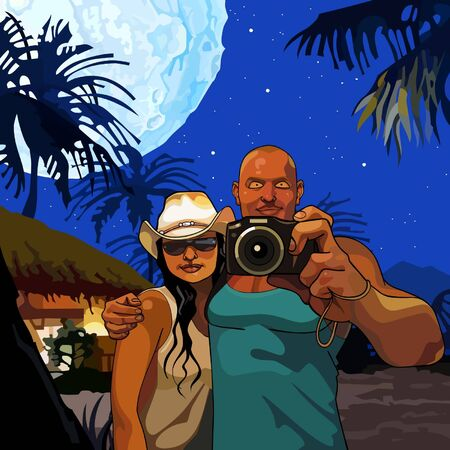 tropics: cartoon couple man and woman photographed on a moonlit night in the tropics