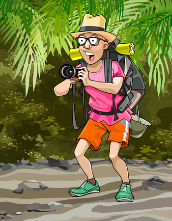 surprised man: cartoon surprised man tourist with a backpack in the jungle photographed