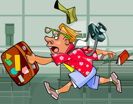 ecstatic: cartoon eccentric tourist man with a suitcase running around the airport