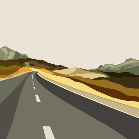 arid: background empty highways in the highlands Illustration