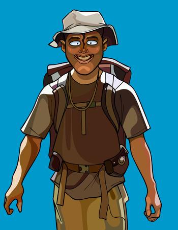 walk through: cartoon cheerful man traveler with a backpack