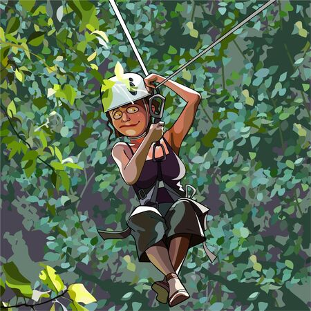 descends: cartoon frightened woman in a helmet on a rope descends to the woods Illustration