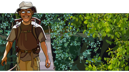 goes: cartoon man traveler goes along the bridge in the forest
