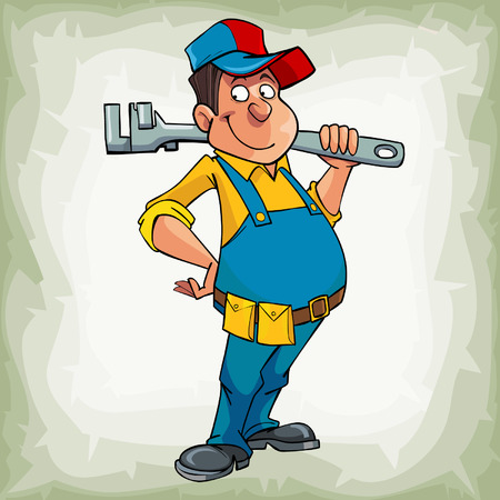ingeniero caricatura: de dibujos animados hombre sonriente fontanero en uniforme de pie con el instrumento en el hombro Vectores