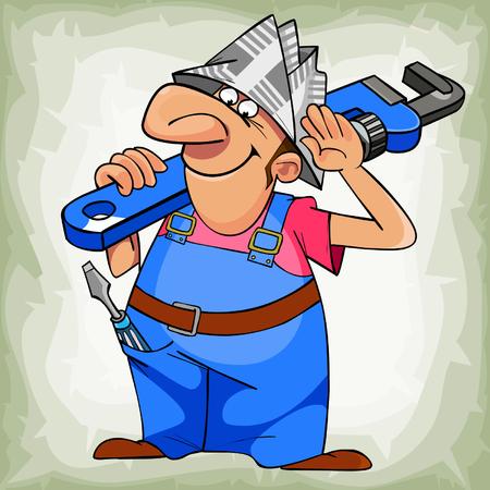 ingeniero caricatura: dibujos animados fontanero hombre de uniforme y el sombrero del peri�dico Vectores