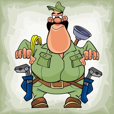 ingeniero caricatura: de dibujos animados gordo fontanero con bigote con herramientas listas para trabajar