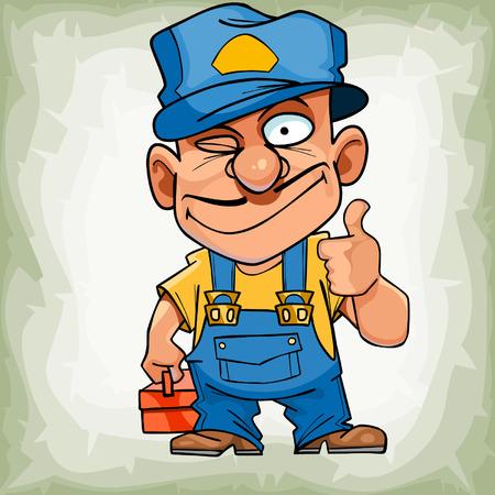 ingeniero caricatura: cartoon funny man plumber in uniform showing thumb up