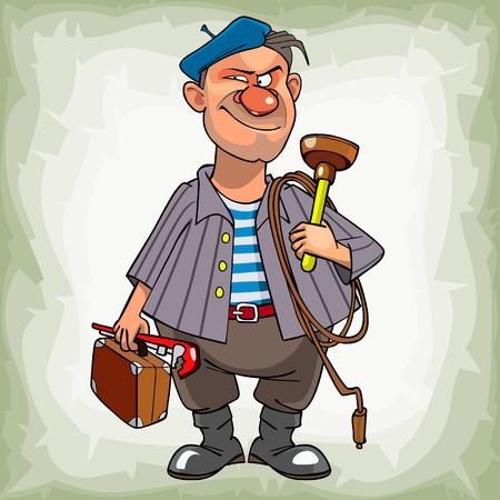 의심스럽게 미소 도구로 서있는 베레모 만화 남자 배관공 일러스트