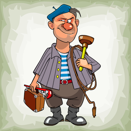 cartoon man plumber in a beret suspiciously smiling standing with tools