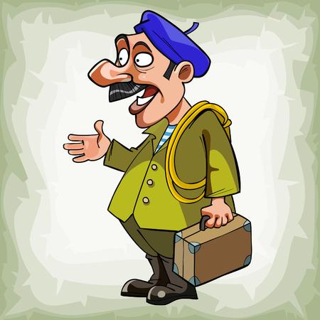 ingeniero caricatura: fontanero hombre de dibujos animados en una boina con una maleta de pie y hablando