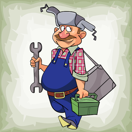 goes: cartoon mustached man in a hat with earflaps plumber smiling goes with tools