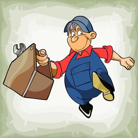 ingeniero caricatura: de dibujos animados hombre fontanero en uniforme est� ejecutando con las herramientas en la mano